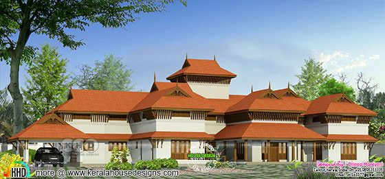 3890 sq-ft 4 bedroom traditional Kerala luxury home