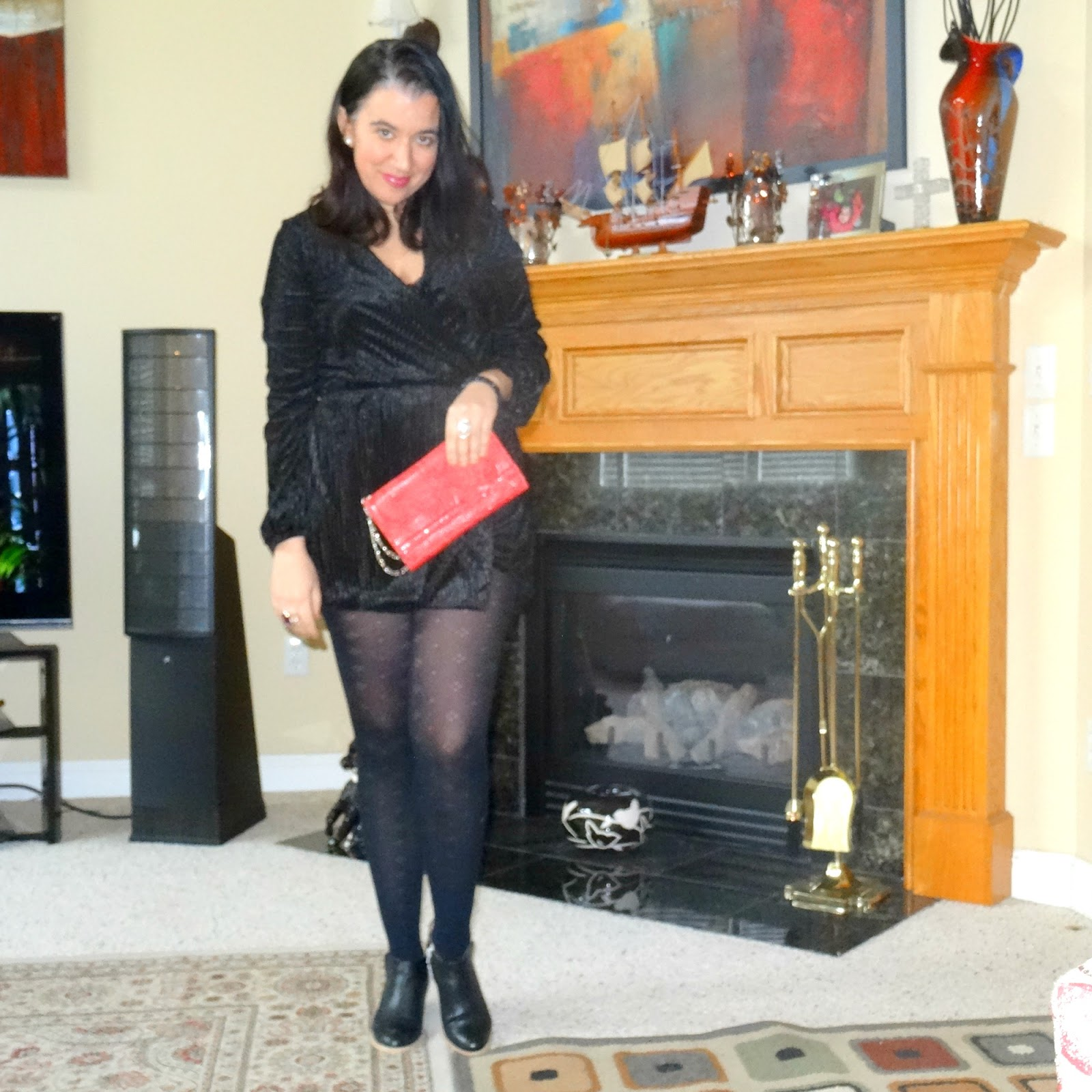 23f333ebdb1 Elegance and Mommyhood.  Black Velvet Romper and Black Beret.