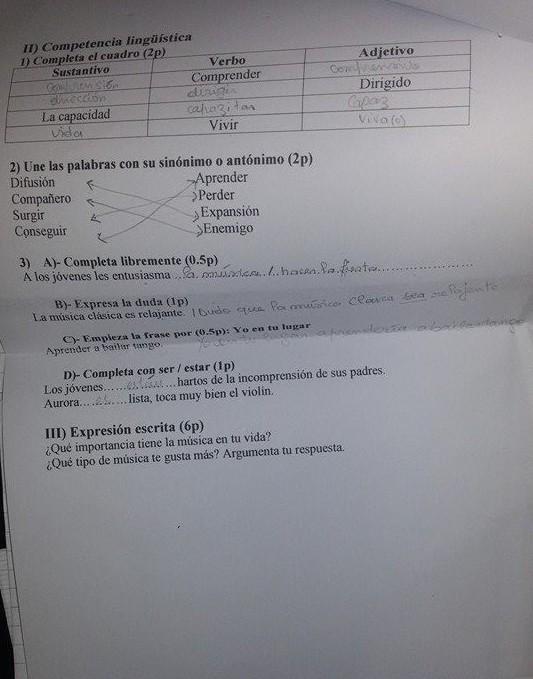 فروض واختبارات اللغة الإسبانية للسنة الثالثة ثانوي