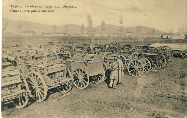 Captured Turkish artillery cars in Bitola during the First Balkan War Battle of Bitola (Battle of Monastir) - 16 to 19 November 1912