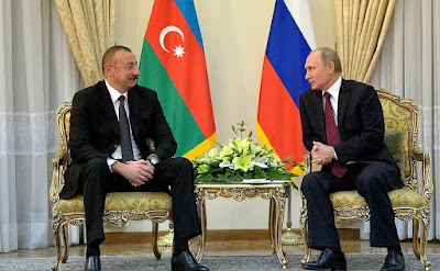 Vladimir Putin with President of Azerbaijan Ilham Aliyev.