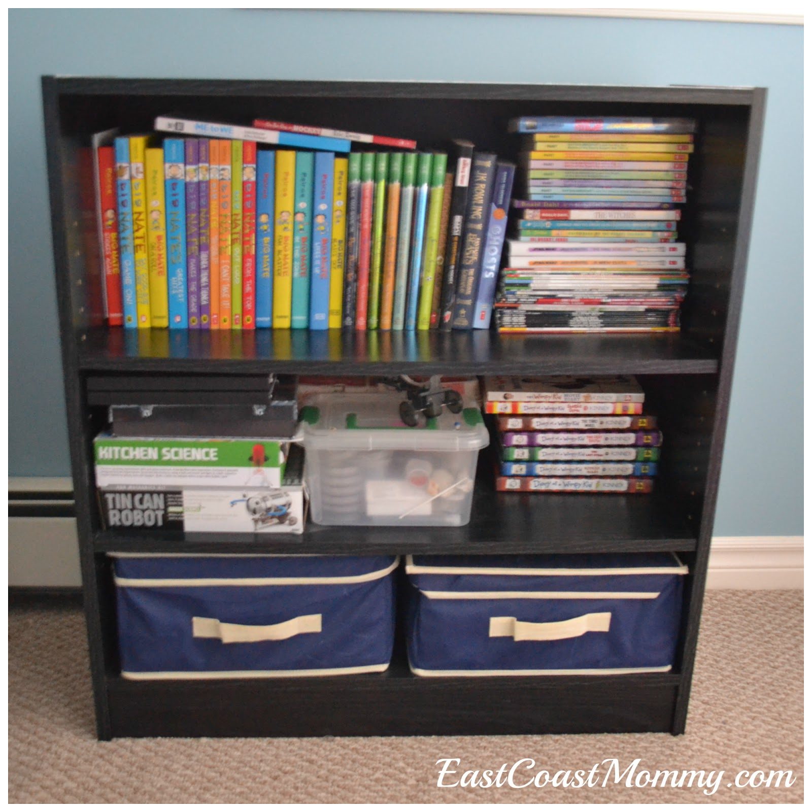East coast mommy shared hockey bedroom on a budget revealed for Cheap book storage