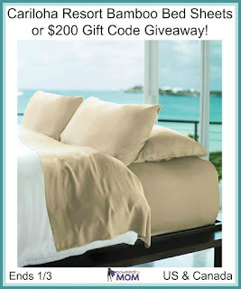 Enter the Cariloha Resort Bamboo Bed Sheets Giveaway. Ends 1/3