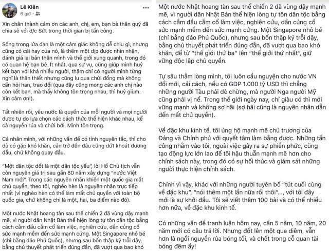 Chia sẻ của nhà báo Lê Kiên trên FB cá nhân.