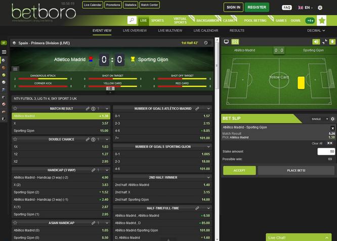 Betboro Live Betting Screenshot