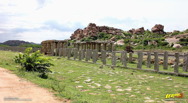 Remnants of the Vitthala temple bazaar and Pushkarni at Hampi
