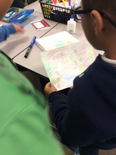 Students got to create their own camouflage creatures and scene for homework and share with classmates.