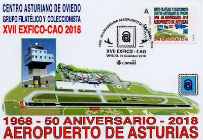 Tarjeta matasellada con el 50 aniversario del Aeropuerto de Asturias