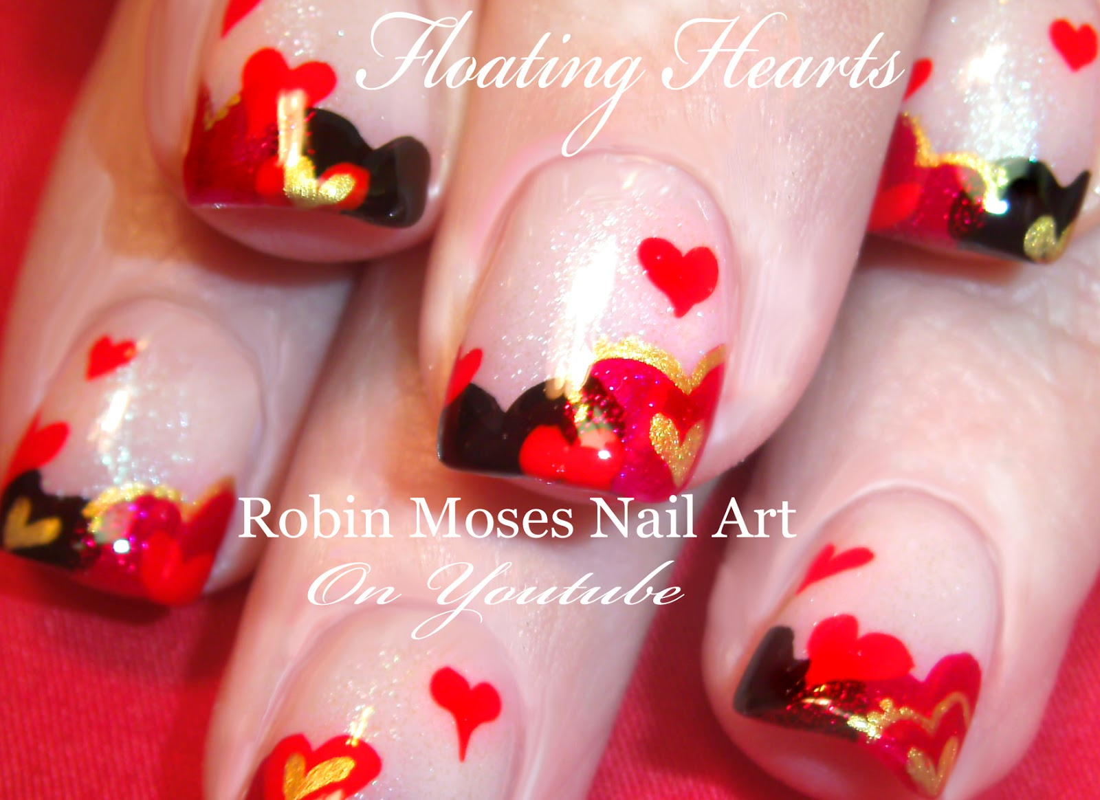 cute valentine nails easy valentine nails valentines day nail art floating hearts gold hearts red and black hearts heart design - Valentines Nail
