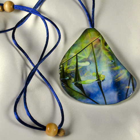 Painted pendant with satin cord