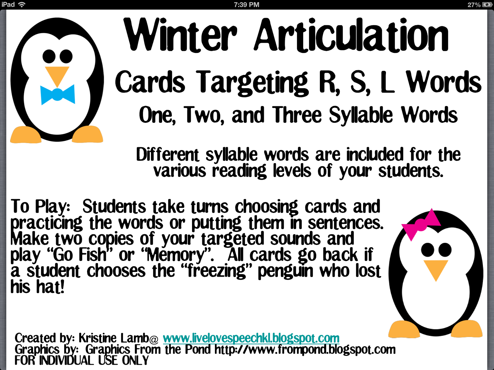 Busy Bee Speech Winter Articulation Review
