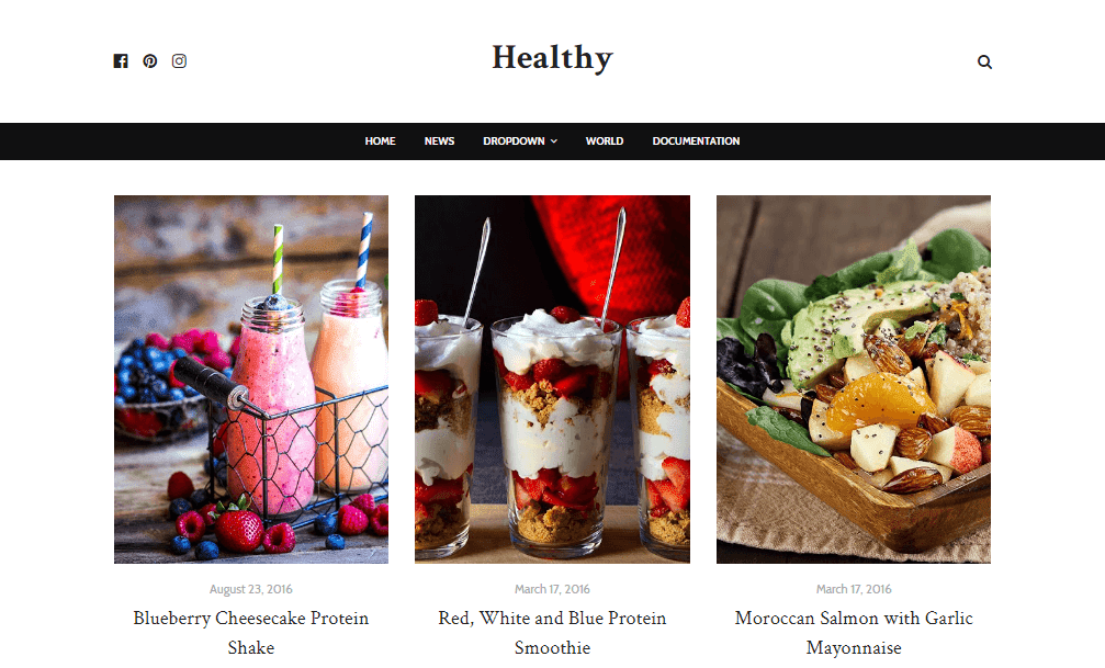 Healthy Food Blogger Template