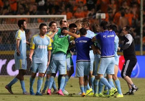 Niềm vui của các cầu thủ FC Astana khi lọt vào Champions League