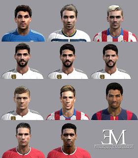 Faces: Isco, Eriksen, Fabregas, Griezmann, Kroos, Smaling, Suarez, Torres, Van Persie, Pes 2013