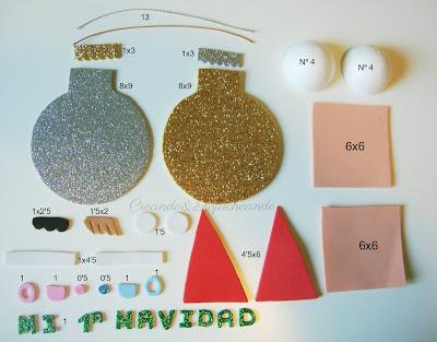 Estas son las piezas y medidas para hacer las dos bolitas en goma eva de mi 1ª navidad