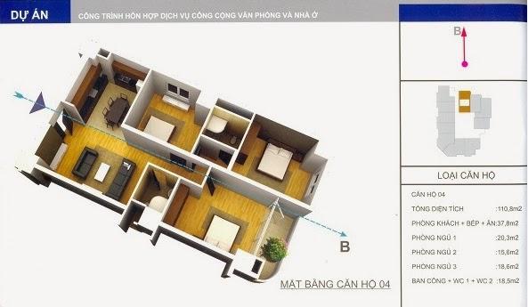 thiết kế mẫu căn số 4 chung cư 34 Cầu Diễn