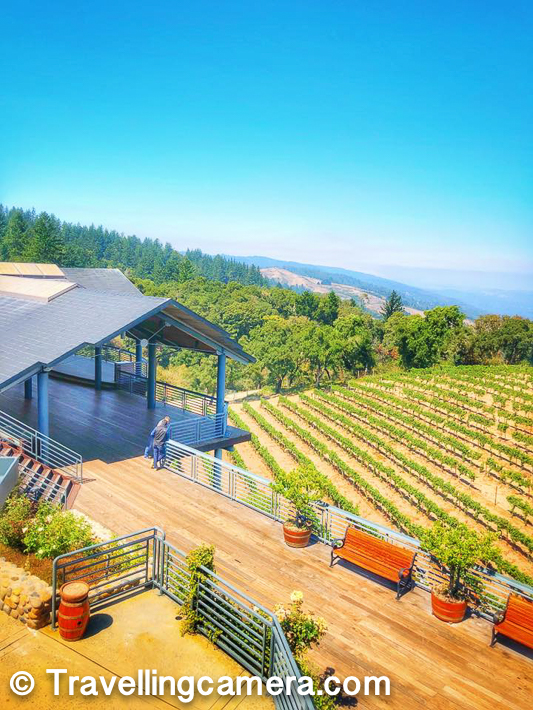 Above photograph shows one of the main deck at Thomas Fogarty Winery & Vineyards. We had our conference room near this place. The farm you see just below the deck is probably 15% of the whole size of this grape-farm.     Related Post - Devil's Slide Bunker - Graffiti covered remnants on a peak around Pacific Coast Highway, CA