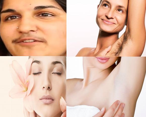 Mulheres depiladas e não depiladas