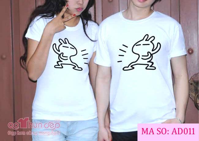 Áo Cặp Con Thỏ Màu Trắng Mã AD011