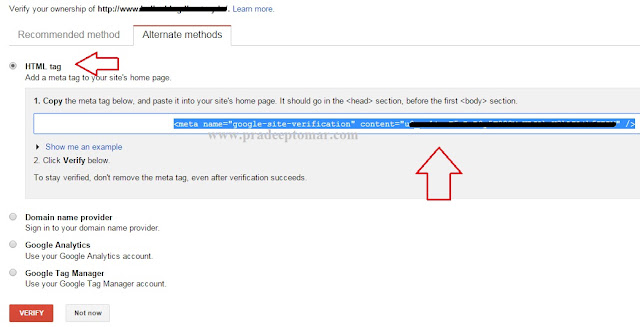 How to verify website in google webmaster tools