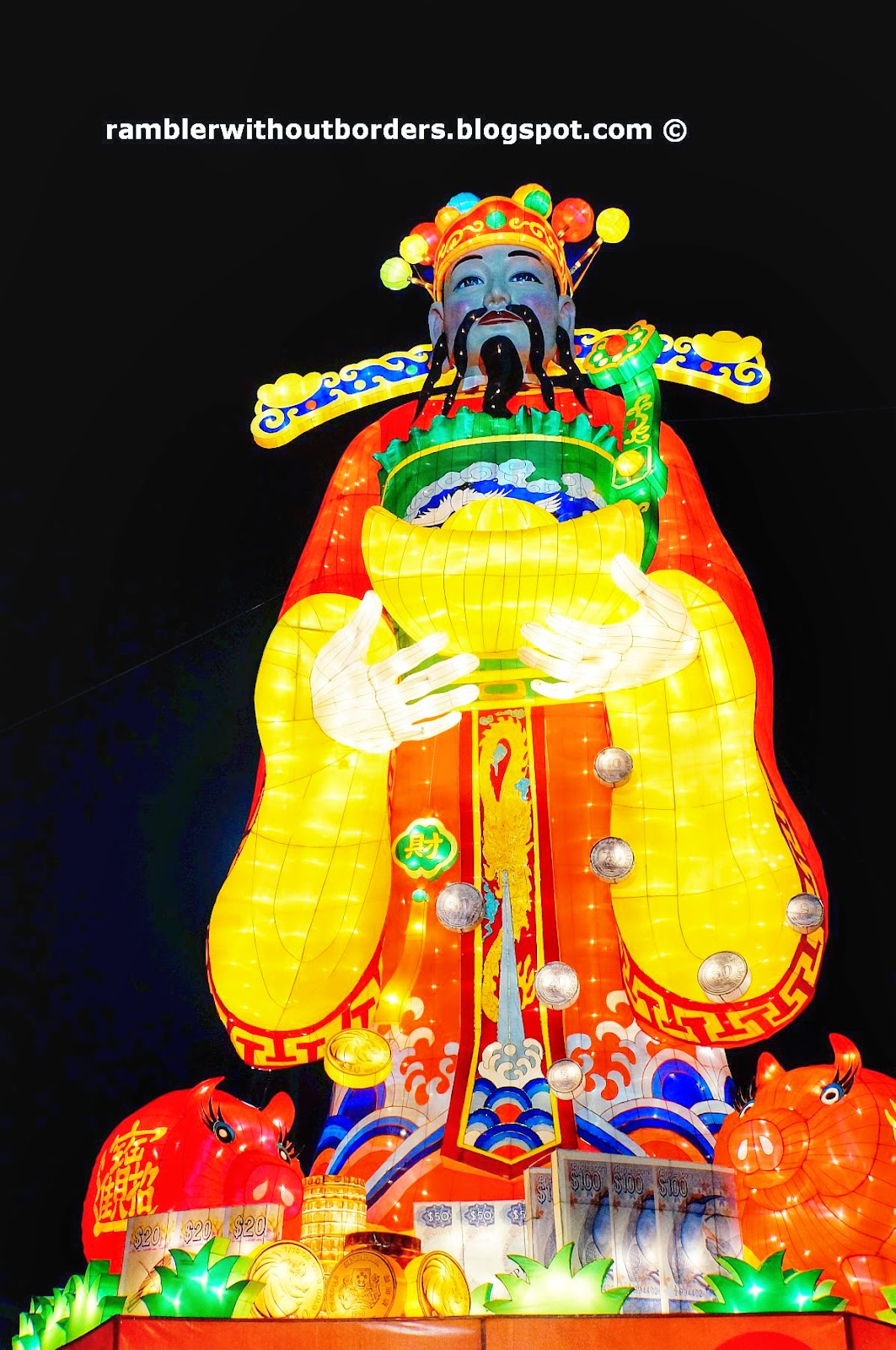 God of Fortune lantern display, River Hongbao 2015, Singapore