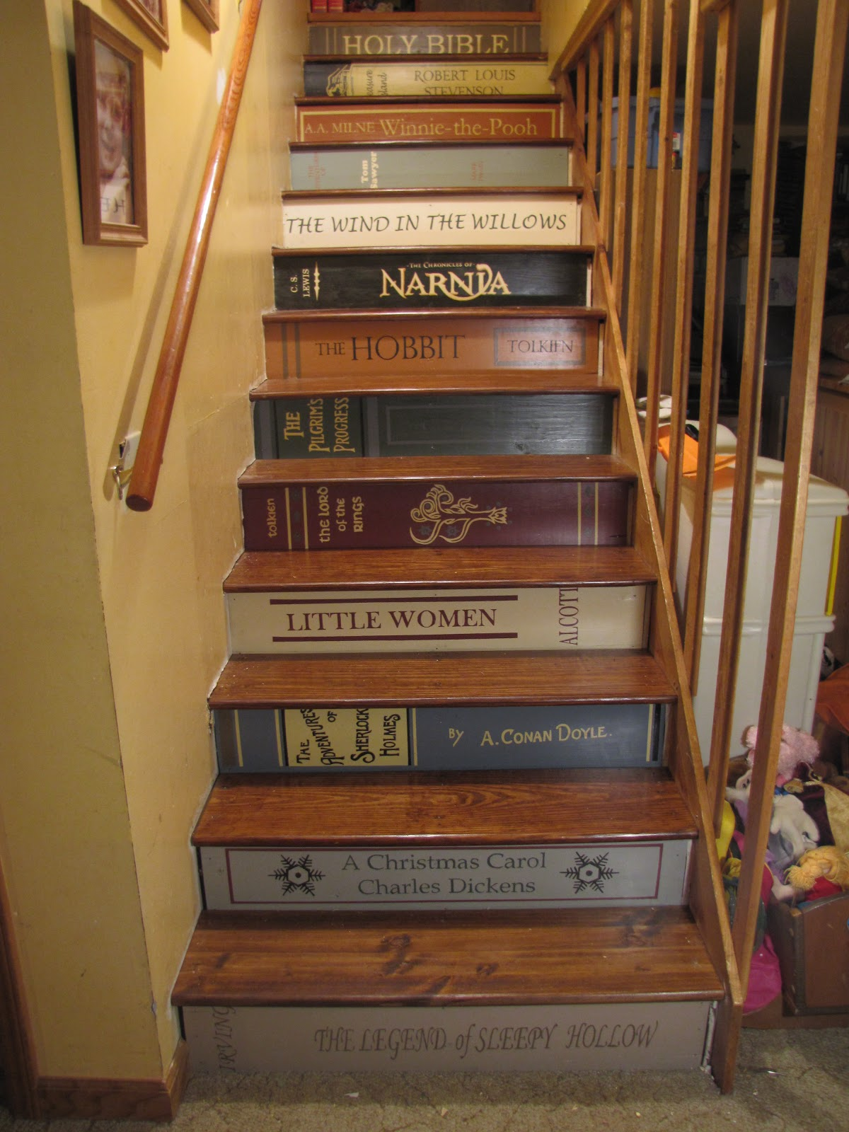 musing from an imperfect mom of 12 bookshelf stairs. Black Bedroom Furniture Sets. Home Design Ideas
