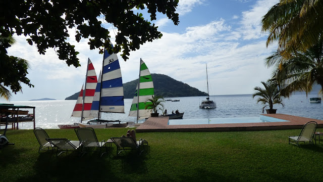 The view over Lake Malawi from Danforth Yachting, Cape McClear