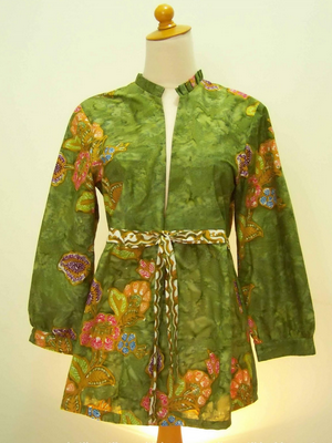 Baju batik dress gaya busana china