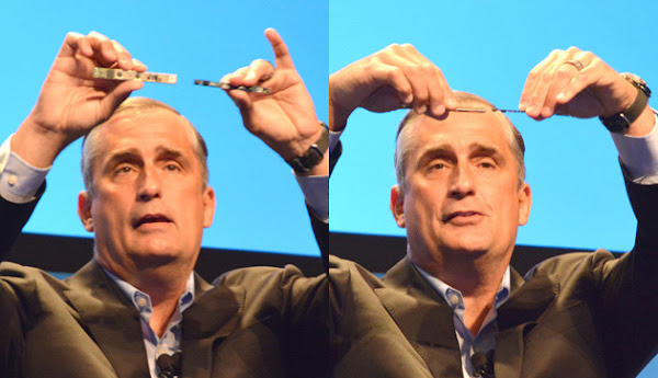 Intel CEO Brian Krzanich with RealSense compared