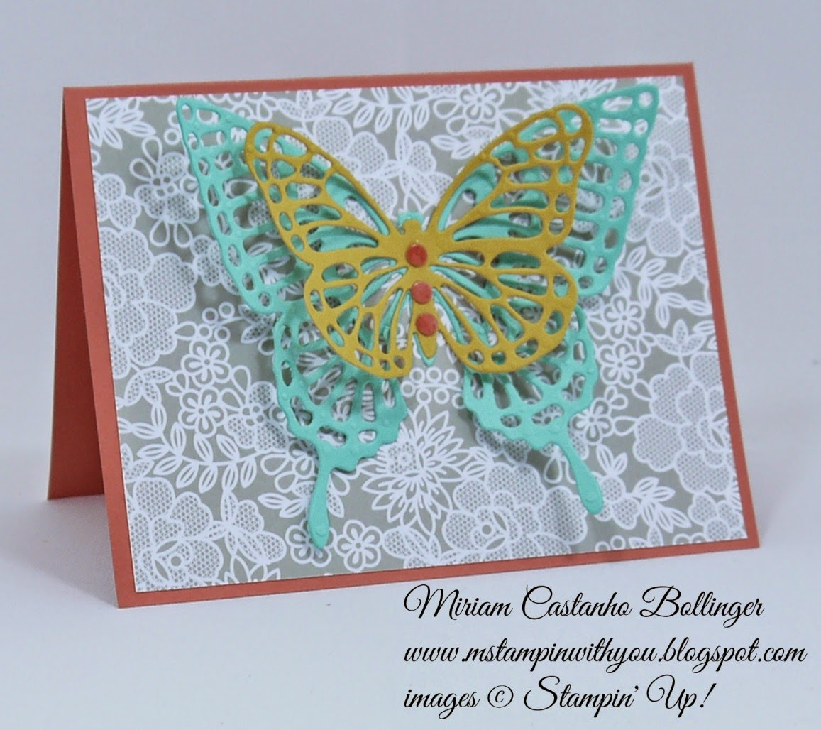 Miriam Castanho Bollinger, #mstampinwithyou, stampin up, demonstrator, dsc, all occasions card, something borrowed DSP, big shot, butterflies thinlits die, su