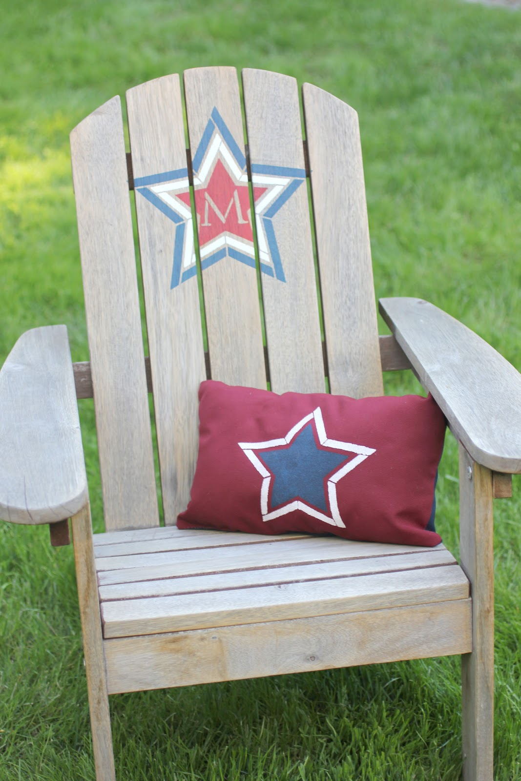 Stenciled adirondack chair and pillow repeat crafter me - Patterns for adirondack chairs ...