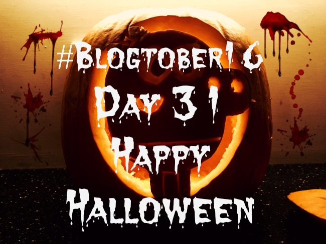 #Blogtober16-Day-31-Happy-halloween-text-over-image-of-carved-pumpkin