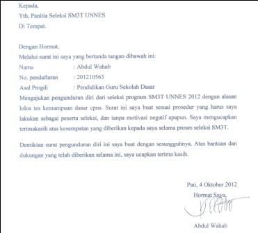 Contoh Surat Pengunduran Diri Cpns 2010 Contoh Two
