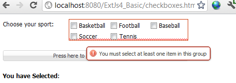 ExtJs CheckBoxes Validation Example