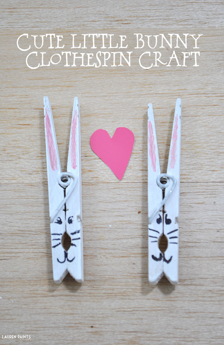 Cute Little Bunny Clothespin Craft - Perfect for Easter & Springtime