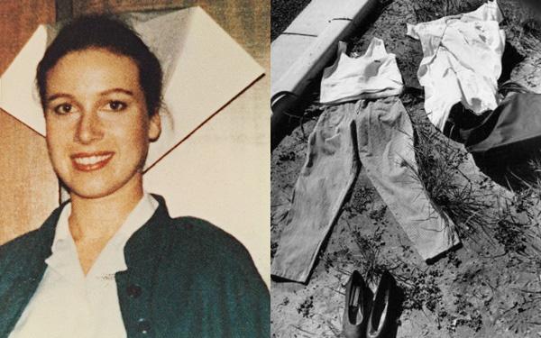 Nữ y tá xinh đẹp Anita Cobby và bộ quần áo được dựng lại tại hiện trường thực nghiệm.