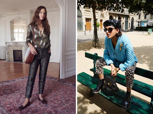 Узкие леопардовые брюки со свободной металлизированной блузкой и голубым кардиганом