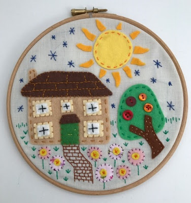 Embroidery hoop art house picture