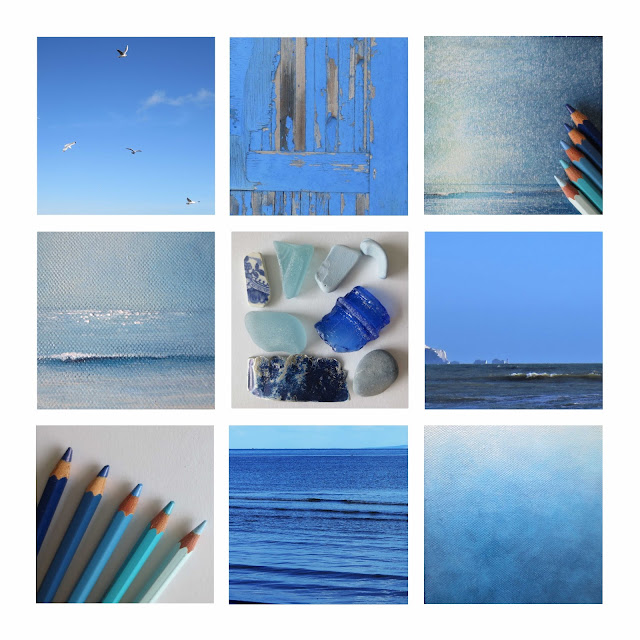 all the blues colour palette inspiration grid coastal beach collection by lisa le quelenec ©2017