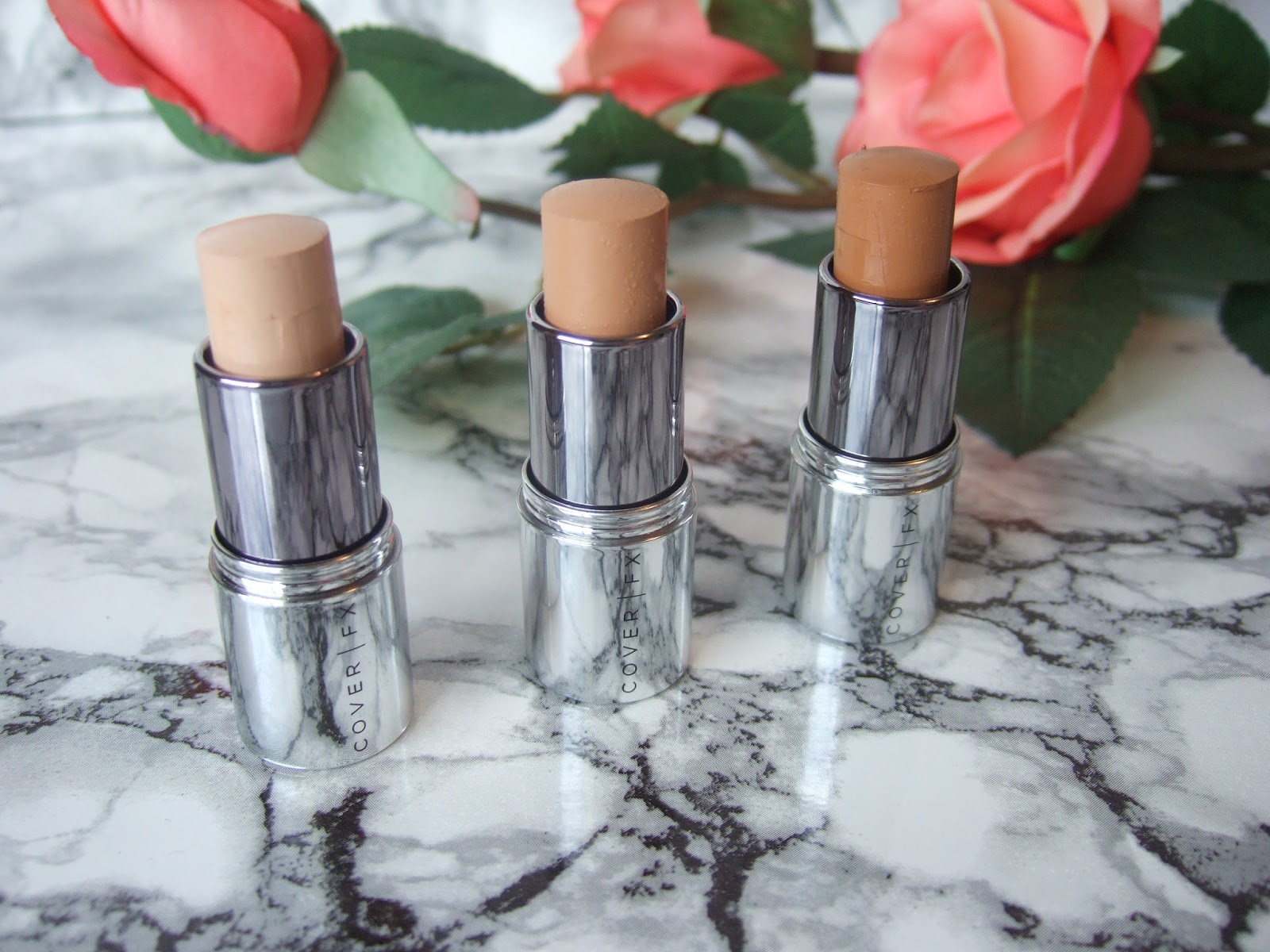 Cover FX Click Stick Cover Click Correct Click Enhance Click Review Swatches Before and After