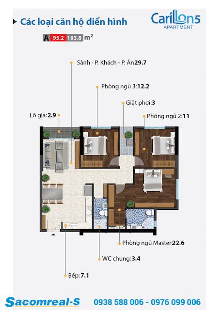 Carillon 5 - căn hộ loại A với thiết kế 3 phòng ngủ.