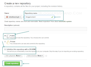 how to create new repository for hosting projects in github