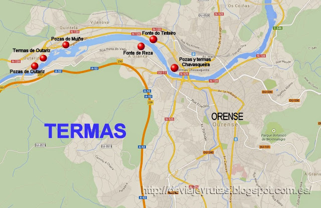 Mapa con la ubicación de las termas de Ourense