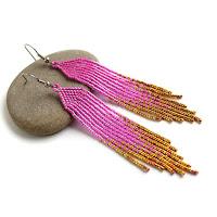купить стильные вечерние серьги из бисера с бахромой розовые сережки ручной работы цена