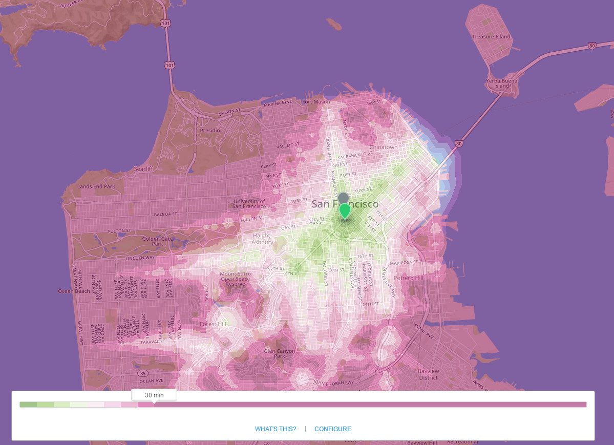 San Francisco: An isochronous map for public transportation