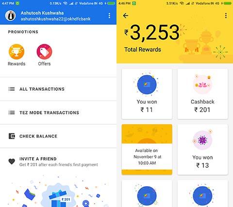 rewards earned in google pay