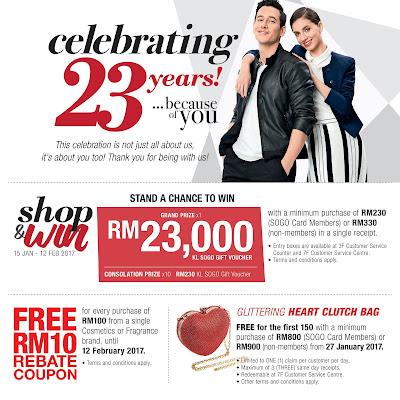KL SOGO Anniversary Sale Free Rebate Coupon Promo