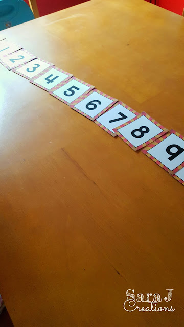 Free number cards for numbers 1-10 to practice sequencing numbers.