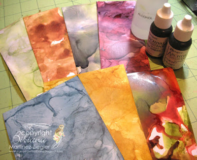technique samples with alcohol and re-inkers