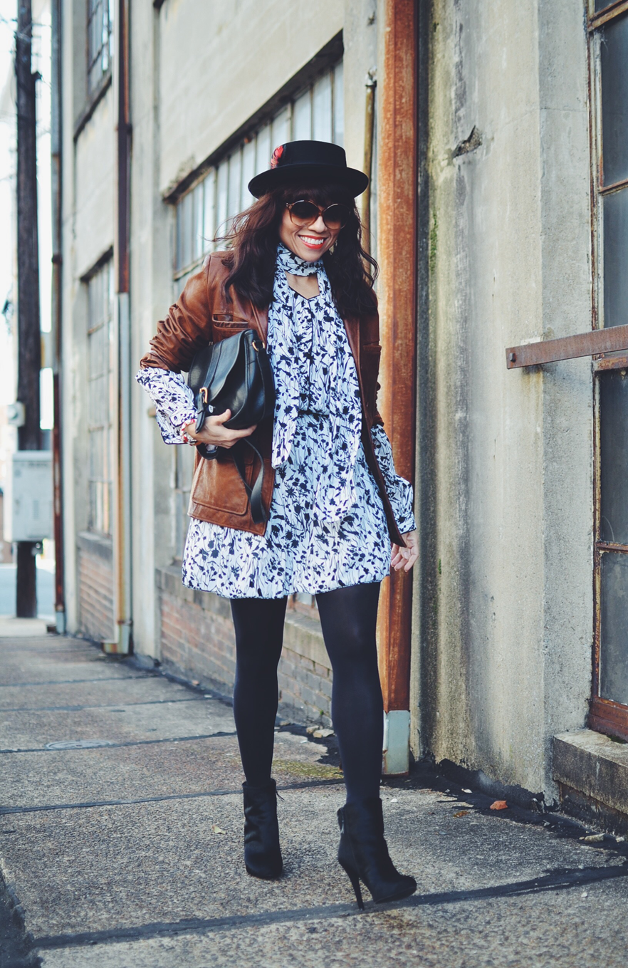 Outfit with black and white floral dress